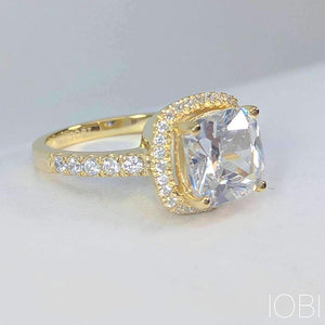 Regina D'ora 3CT Cushion Cut Halo IOBI Simulated Diamond Ring