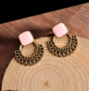 Mauve Button Stud Earrings with Jacket