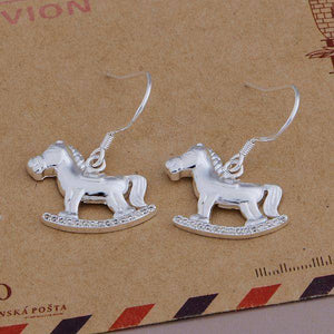 Rocking Horses Polished Finish Silver Dangling Hook Earrings for Woman