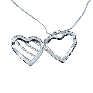 Rope Motif Sterling Silver Heart Locket Necklace For Woman