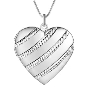 Rope Motif Sterling Silver Heart Locket Necklace