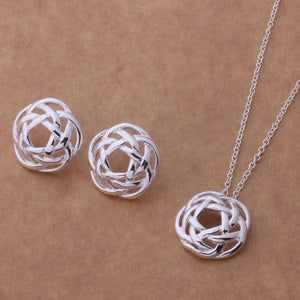 Rose Dome Silver Necklace and Earrings Set