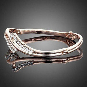 CZ Swirled Rose Gold Cup Bangle Bracelet