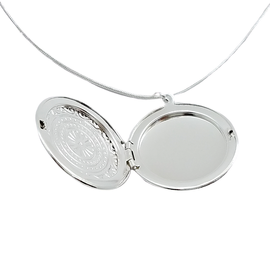 Round Embossed Sterling Silver Locket Necklace For Woman