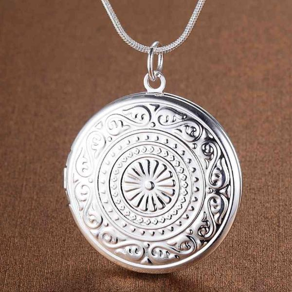 Round Embossed Sterling Silver Locket Necklace