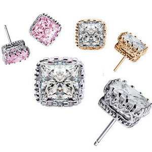 Royal Princess 7mm Cut Simulated White Or Pink Sapphire Stud Earrings