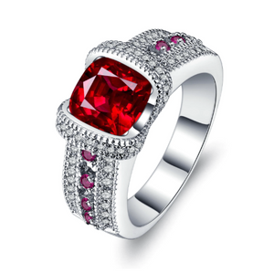 Fiery Pink Cushion Cut CZ Solitaire Ring