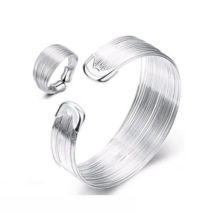 Silky Threads Sterling Silver Adjustable Ring and Matching Cuff Bracelet Set for Woman