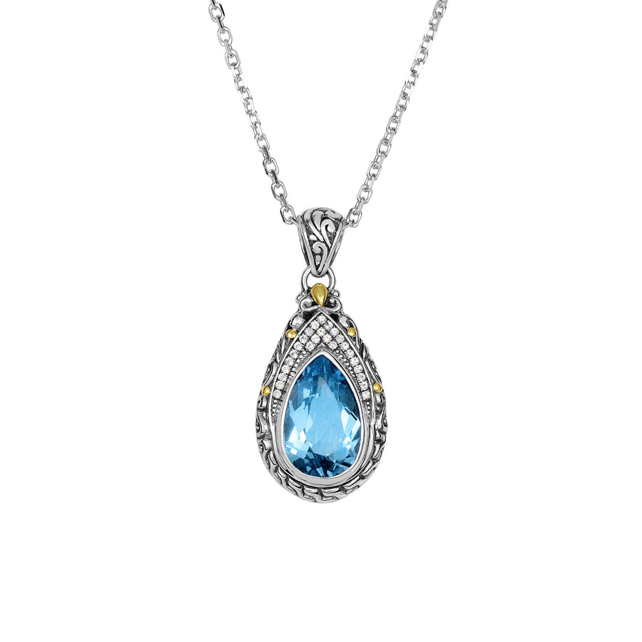 18Kt Yellow Gold+Silver with Oxidized Finish Shiny 34X16mm White Sapphire+Blue Topaz Teardrop Byzantine Pendant On Silver 18 inches 1.9mm Cable Chain Lobste