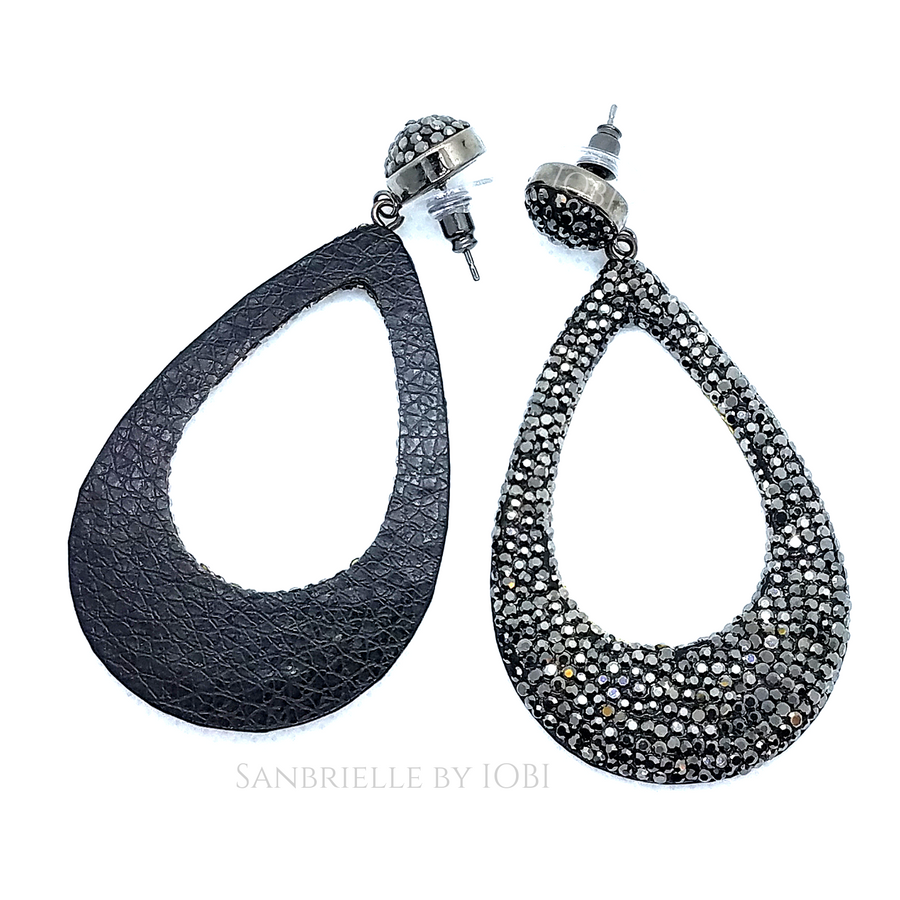 Oversize Black Turkish Crystal Drop Earrings