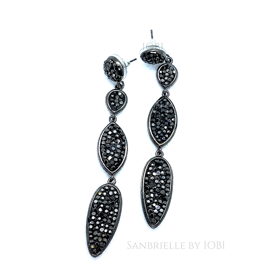 Black Turkish Crystal Spear Earrings