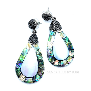 ON SALE - Natural Abalone and Black Turkish Crystal Earrings