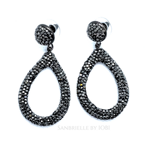 Black Turkish Crystal Encrusted Drop Earrings