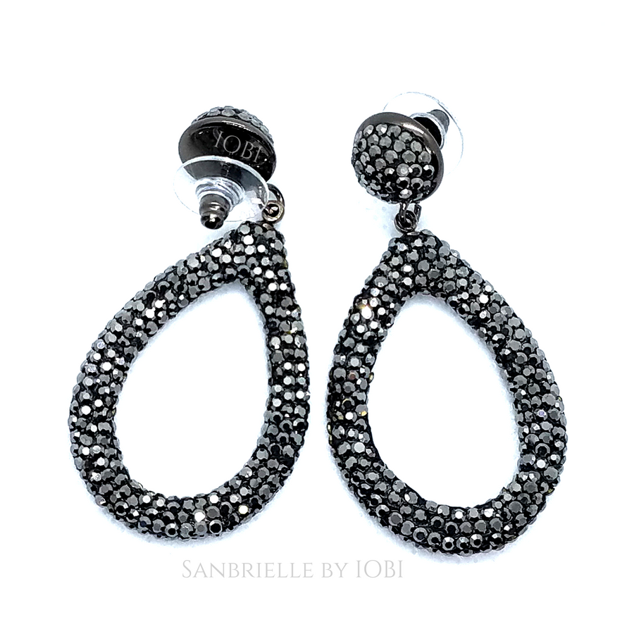 ON SALE - Black Turkish Crystal Encrusted Drop Earrings