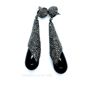 ON SALE - Draped Black Turkish Crystal Raindrop Earrings