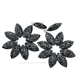 Black Turkish Crystal Flower Earrings