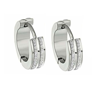 ON SALE - Sandblasted Striped Huggie Hoop Stainless Steel Earrings - For Men or Women