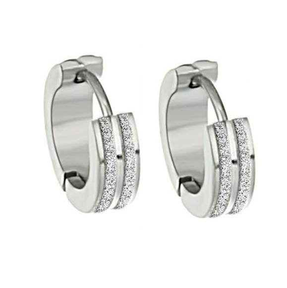 Sandblasted Striped Huggie Hoop Stainless Steel Earrings - For Men or Women