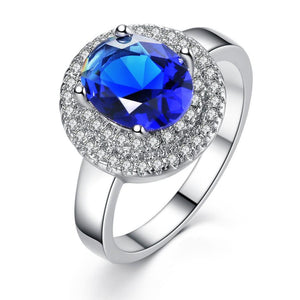 Princess Blue Zirconia Double Halo Ring
