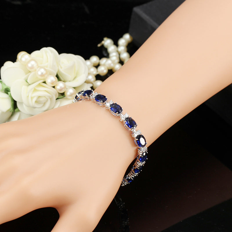 Feshionn IOBI bracelets White Gold Sapphire Blue Oval Austrian Crystal Tennis Bracelet in White Gold