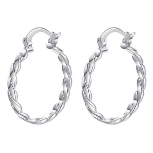 Braid Motif Silver Hoop Earrings