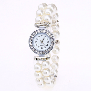 ON SALE - Vintage Era Pearl and Crystal Stretch Watch