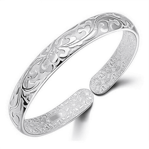 Scroll Carved Silver Cuff Bangle Bracelet
