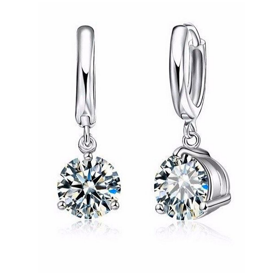 Crystal Solitaire Round Cut Earrings