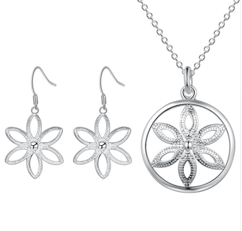 Shine Flower Sterling Silver Necklace and Earrings Set