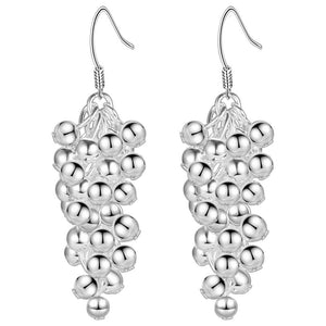 Tiny Dangling Grape Beads Silver Earrings