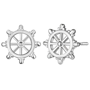 Ship's Wheel Silver Stud Earrings