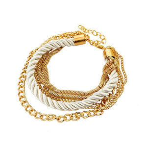 CLEARANCE - Silky Ropes and Chains Bracelet in Ivory