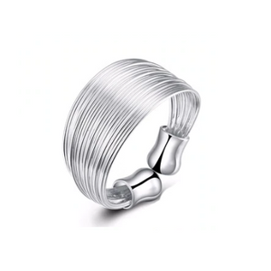 Silky Silver Threads Adjustable Ring For Woman