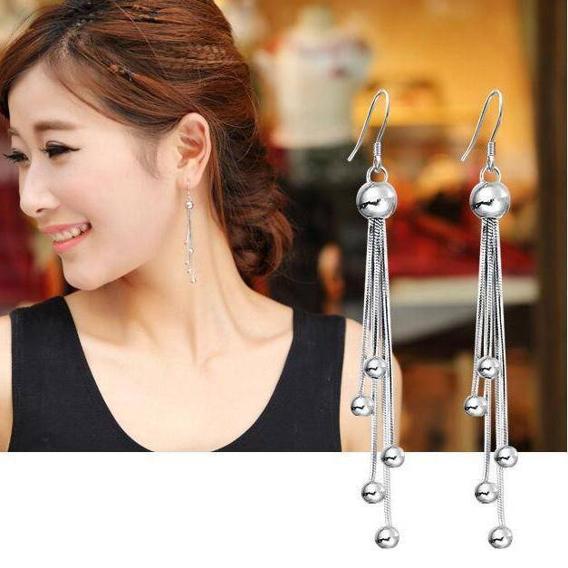 Comets Silver Bead Chain Earrings
