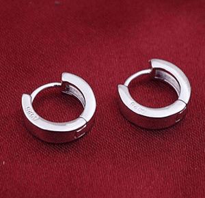 12mm Silver Huggie Hoop Earrings - For Men or Women