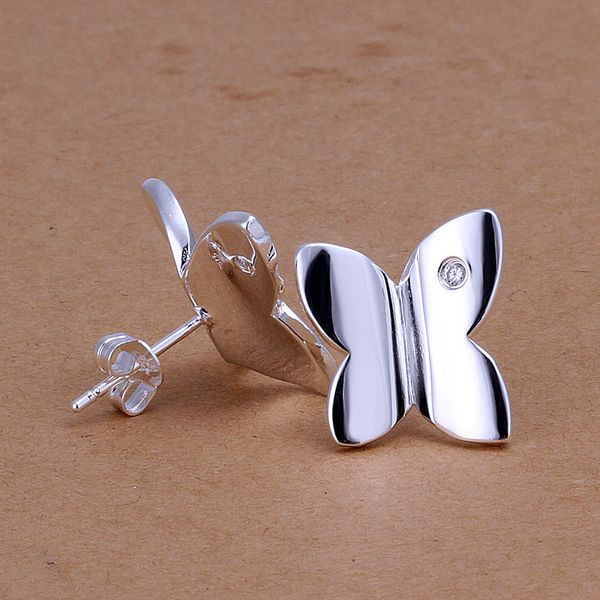Abstract Butterfly Silver Stud Earrings