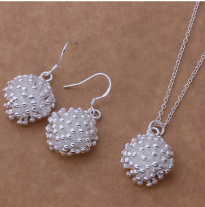 ON SALE - Dandelion Sterling Silver Matching Necklace and Earrings Set