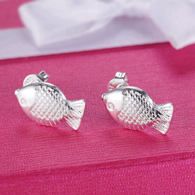 Nice Catch Silver Fish Stud Earrings