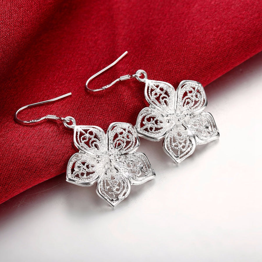 Silver Hibiscus Flower Earrings