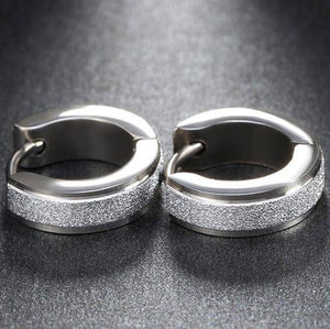 Frosted Huggie Hoop Stainless Steel Earrings - For Men or Women