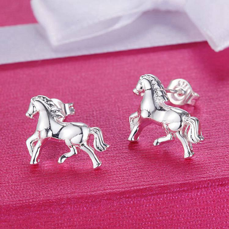 Little Horse Silver Stud Earrings for Woman Gift for The Horse Lover