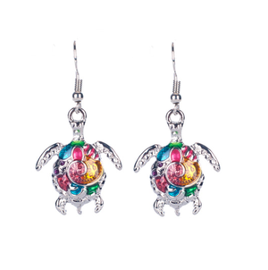Artsy Sea Turtle Enamel Earrings