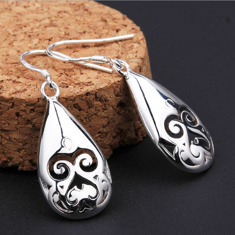 French Cut Design Silver Earrings