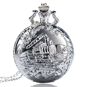ON SALE - Locomotive Silver Train Pocket Watch