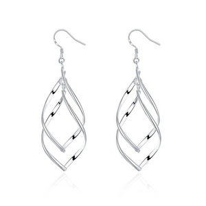 Sterling Silver Interlocking Diamond Spirals Earrings For Woman