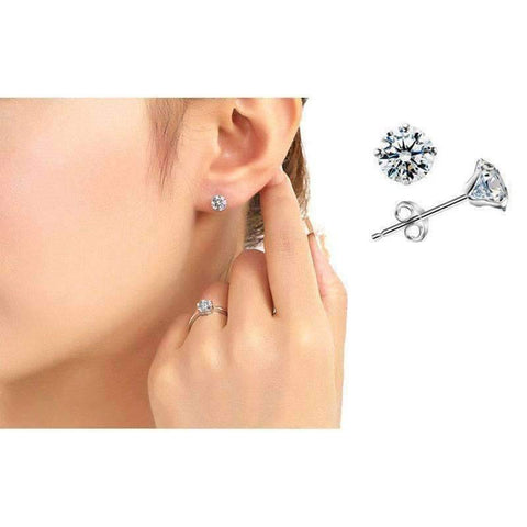Four Prong Martini Set CZ Stud Earrings