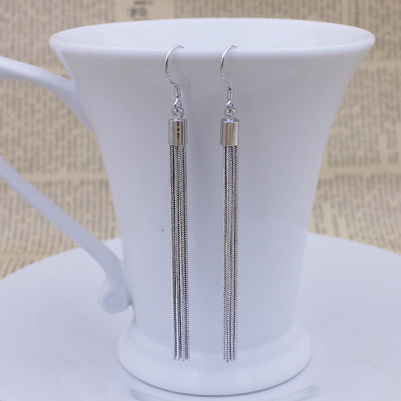 ON SALE - Sleek Silver Strings Tassel Earrings