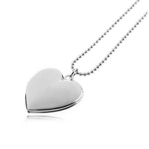 Adoration Engravable Smooth Heart Locket Necklace