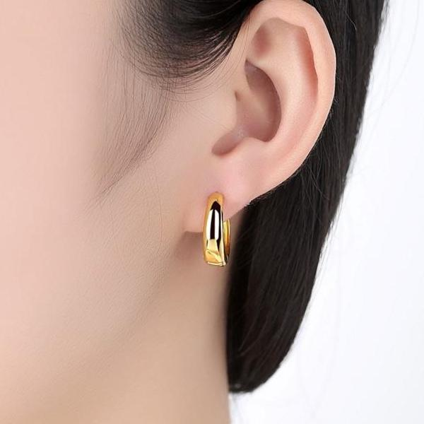 Smooth Rounded Gold Huggie Hoop Earrings
