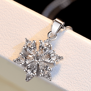 ON SALE - Snowy White Zirconia Snowflake Necklace